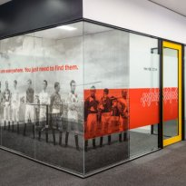 Wall graphic vinyl and Optically clear glazing film treatments