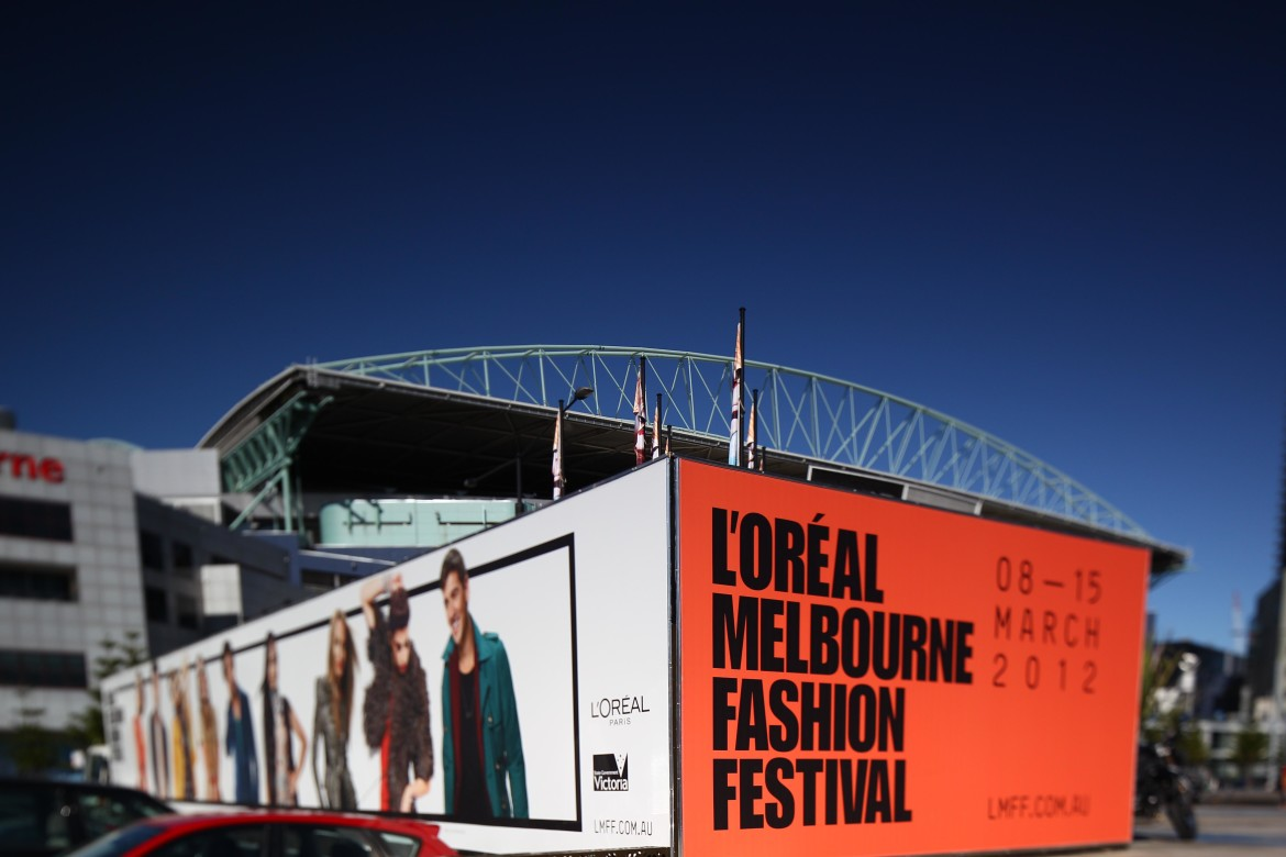 Creative event graphics for Melbourne Fashion Festival. Multi venue branding and signage.