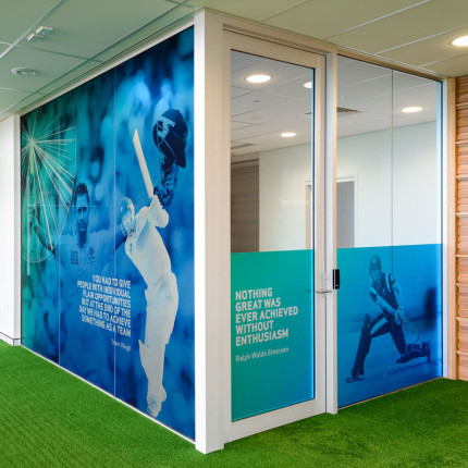 Vinyl wall graphics and Window glazing films